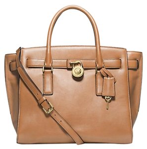 Michael Kors Leather Satchel in Suntan