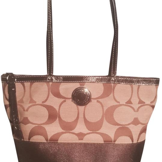 Preload https://item5.tradesy.com/images/coach-d1281-f19046-tan-and-brown-canvas-leather-tote-18996754-0-1.jpg?width=440&height=440
