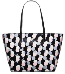 Kate Spade Multicolor Zip Top Colorful Travel Tote in black