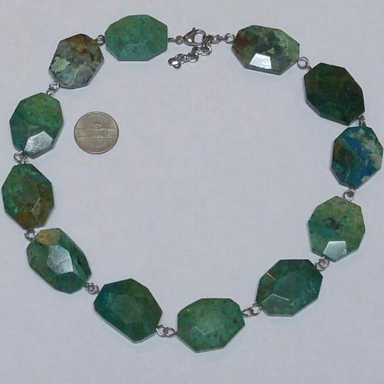 Anthropologie Genuine Chrysocolla turquoise stainless steel necklace