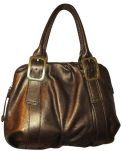Cole Haan Leather Rouched Satchel in Bronze Leaf