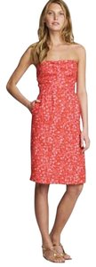 J.Crew short dress Red, Pink Strapless Linen on Tradesy