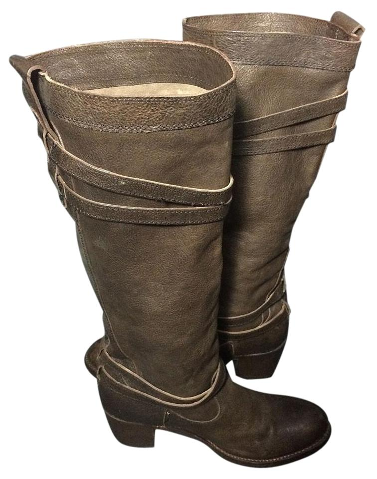 Frye Brown Leather 76396 Jane Strappy Leather Brown Riding Women's Boots/Booties a866ad