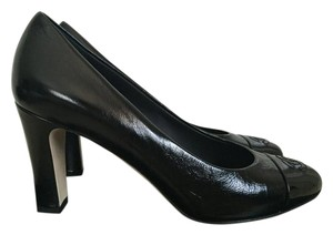 Chanel Leather Cap Toe Black Pumps