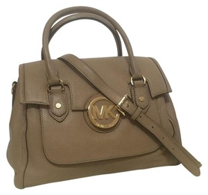 Michael Kors Soft Leather Satchel in Dark Khaki
