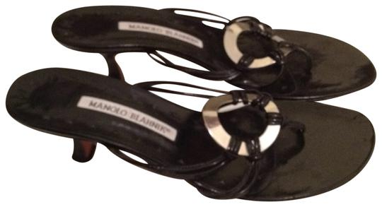 Manolo Blahnik black with silver Sandals