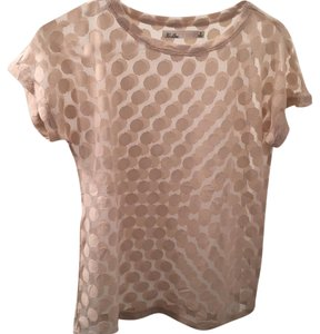 Madewell Polka Dot T Shirt Peach, Beige, Sheer