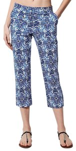 MILLY Sateen Capris Blue and white
