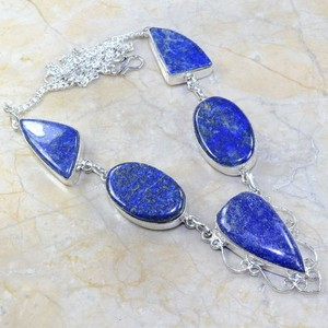 Silver Lapis Y Necklace Free Shipping