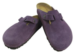 Birki's by Birkenstock Size 39 Or Usa 8.50 Suede Leather Very Good Condition Purple Mules