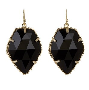 Kendra Scott NEW Corley Faceted Stone Drop Earrings, black, gold