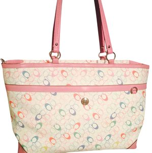 Coach Tote in White Pink