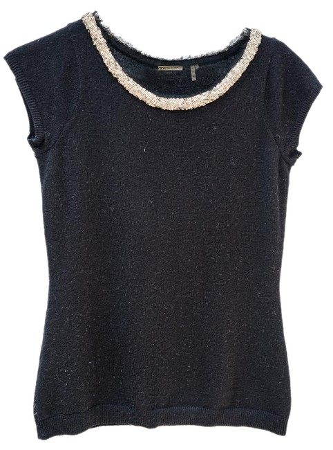 Preload https://img-static.tradesy.com/item/18998587/elie-tahari-black-short-sleeve-cashmere-with-gold-sequin-neckline-sweaterpullover-size-4-s-0-1-650-650.jpg
