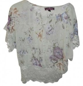 Almost Famous Floral Lace Vintage Sheer Top mint green w/ purple and blue flowers