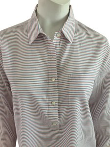 J.Crew Cotton Striped Popover Tunic Top White, Red and Blue