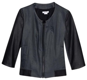 Helmut Lang Moto Black leather and navy twill Leather Jacket