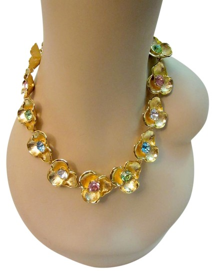 Preload https://item2.tradesy.com/images/kenneth-jay-lane-gold-and-multi-color-flower-necklace-with-crystal-rhinestones-statement-18998956-0-3.jpg?width=440&height=440