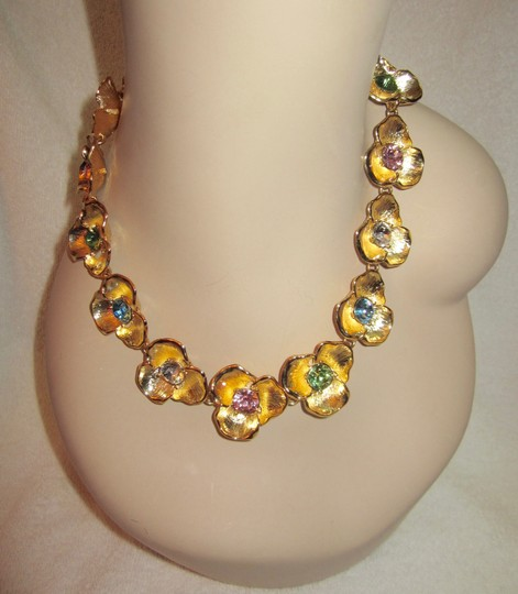 Kenneth Jay Lane Gold Flower Necklace with Crystal Multi-Color Rhinestones Statement