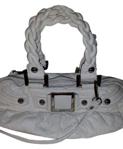 Black Rivet Faux Leather White Small Satchel in Bone