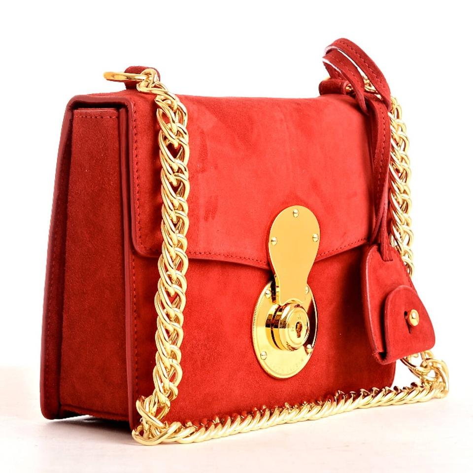 ralph lauren collection ricky tomato red suede shoulder bag tradesy. Black Bedroom Furniture Sets. Home Design Ideas