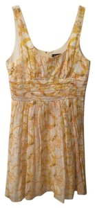 A.B.S. by Allen Schwartz short dress Yellow Structured Ruched Bodice Floral on Tradesy