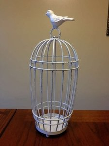 White Wire Birdcage Card Holder Reception Decoration