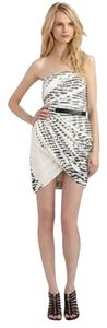 Elizabeth and James short dress White and Black Striped Strapless on Tradesy