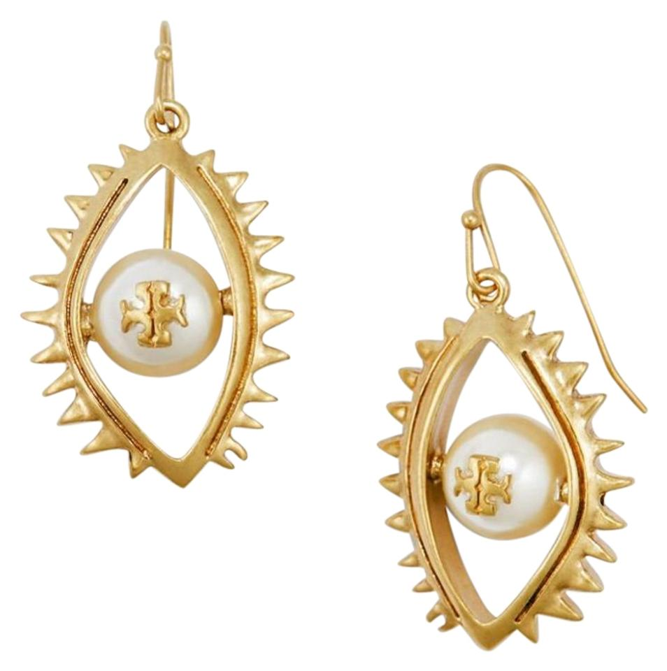 Tory Burch Gold White New Evil Eye Drop Pearl Earrings Tradesy Tb Duet Chain Convertible