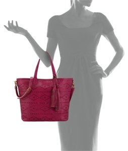 Isabella Fiore Cutout Perforated Crossbody Leather Tote in Pink