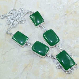 Silver/Green Bogo Free Gemstone Free Shipping Necklace