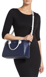 Kate Spade Pippa Leather Catherine Street Satchel in Navy & White