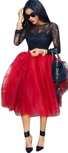 Boutique 9 Tulle Tulle Plus Size Women's Fashion Skirt Red