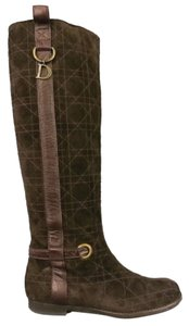 Dior Embroidered Monogram Horse Bit Riding Brown Boots