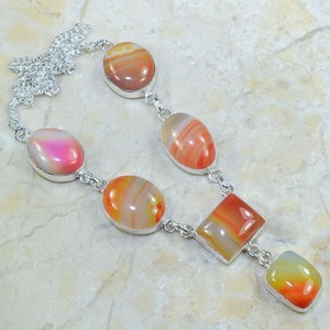Silver Y Necklace With Botswana Agate Gemstones Free Shipping