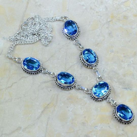 Stunning Blue Topaz Silver Y Necklace Free Shipping
