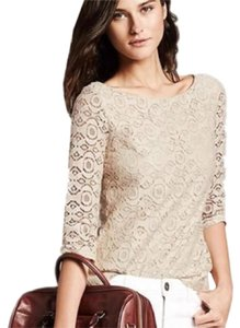 Banana Republic Sequin 3/4 Sleeve Top Beige Cream