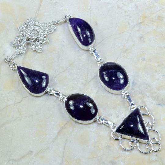 Purple/Silver Bogo Free Natural Amethyst Free Shipping Necklace