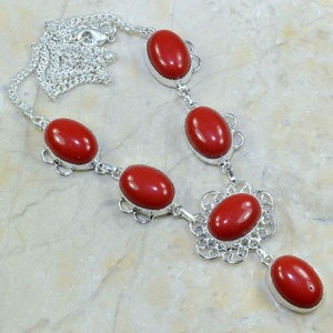 Red Coral Silver Y Necklace Free Shipping