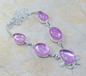 Pink Snakeskin Quartz Silver Chunky Necklace Free Shipping