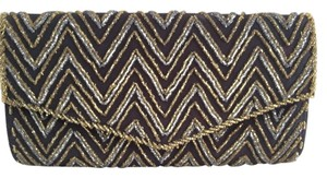 Vintage Beaded Black and Gold Clutch