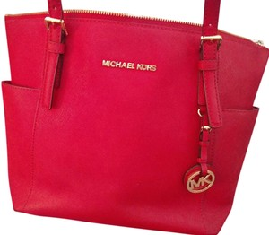 Michael Kors Leather Zip Top Tote in Red