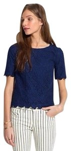 Madewell Lace Scalloped Tee T Shirt Navy