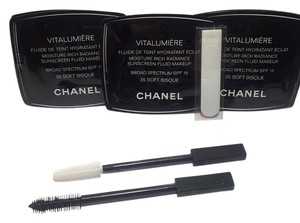Chanel 6 Piece CHANEL Vitalumiere Makeup 35 Soft Bisque SAMPLE SET NEW