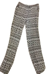 H&M Straight Pants black & white aztec design
