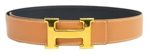 Herms TAN LEATHER & GOLD TONE H LOGO BELT
