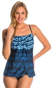 Miraclesuit Miraclesuit~Blue Indigo-Go Jubilee Soft Cup Flyaway Tankini Swim Top~8