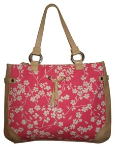 Bath and Body Works Tote in tan, pink & white