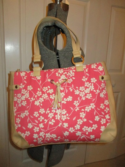 Bath and Body Works Tote in tan, pink & white Image 1