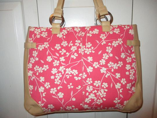 Bath and Body Works Tote in tan, pink & white Image 2