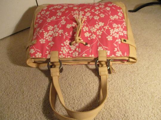 Bath and Body Works Tote in tan, pink & white Image 8